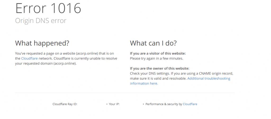 Cloudflare Error 1016