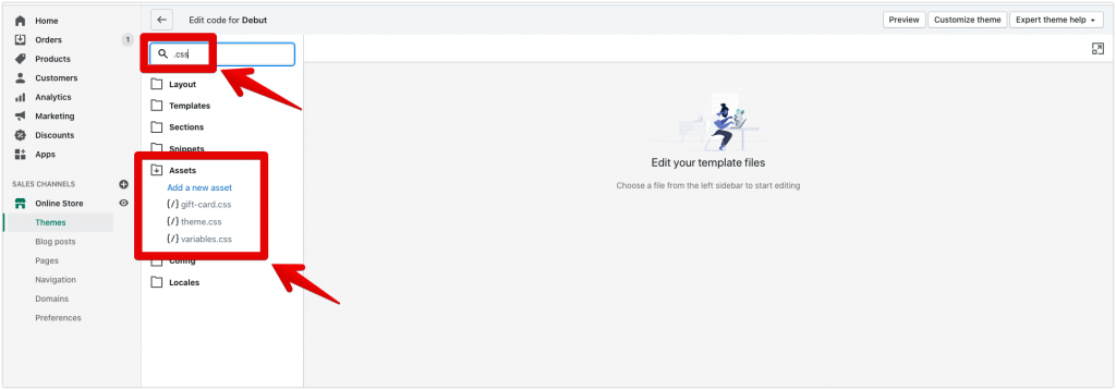 edit custom css file shopify