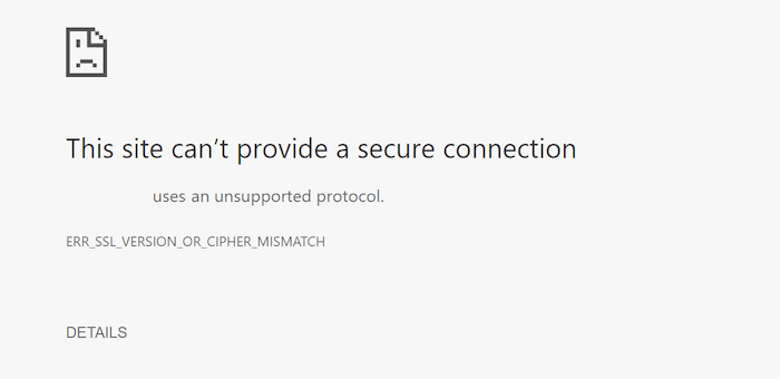 Err Ssl Version Or Cipher Mismatch Chrome