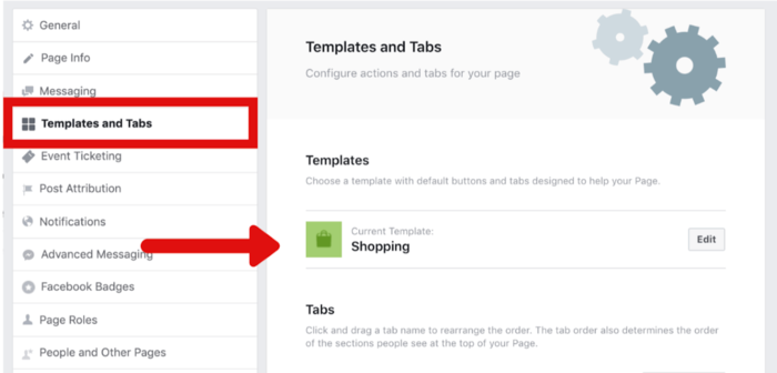 Set Facebook Page To Shopping Template