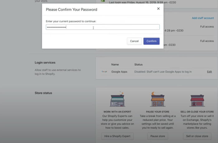 Shopify Confirm Password