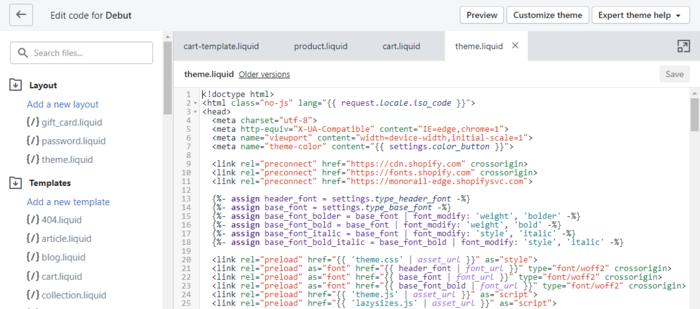 Shopify CSS Theme.liquid