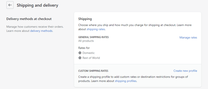 Shopify Default Shipping Settings