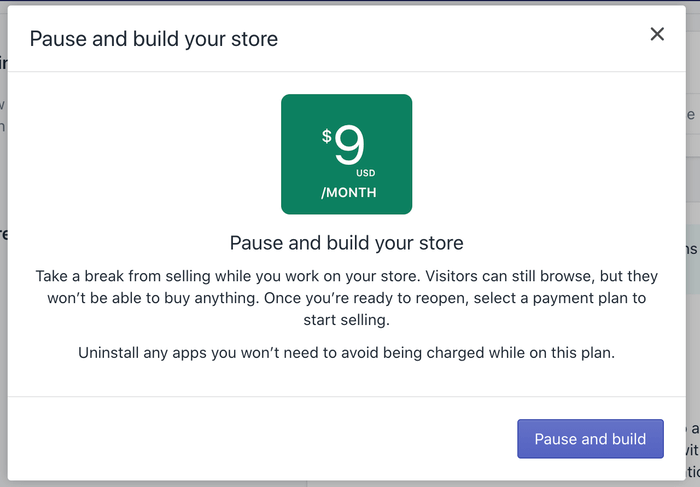 Shopify Pause And Build Plan