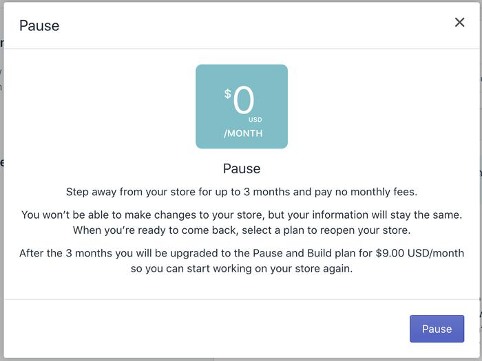 Shopify Pause Plan