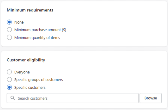 shopify store credit specific customers