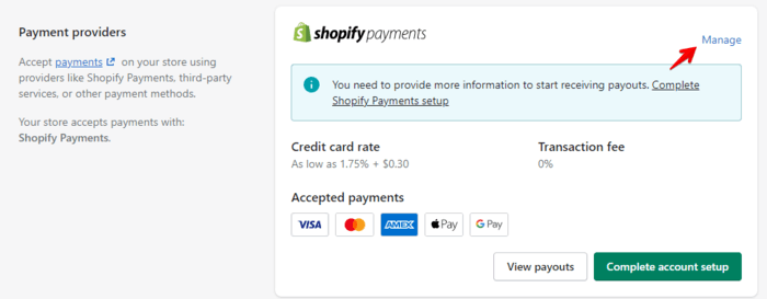 shopify test order manage shopify payments