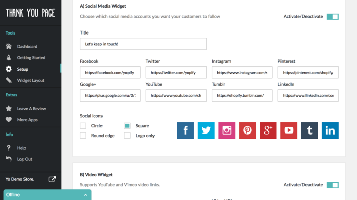 Shopify Thank You Page Social Media Widgets